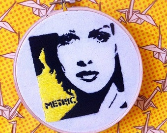 METRIC band wall decor / METRIC band home decor /Metric band embroidery hoop art/ Emily Haines portrait