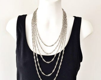 Vintage Layered Necklace D'Orlan Layered Multi Strand Costume Jewelry Silver Tone Layered Chain Necklace Twisted Curb Chain