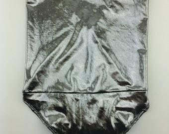 Liquid Silver: Super Shiny Silver Spandex Bandana w/ Hidden Stash Pocket