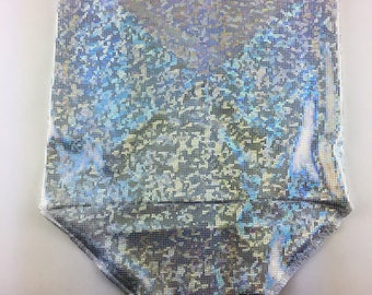 Holographic Silver on White Spandex Bandana w/ Shattered Glass Silver Holo Rainbow pattern and Hidden Stash Pocket