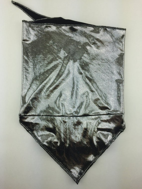 Liquid Silver: Super Shiny Silver Spandex Bandana w/ Hidden Stash Pocket