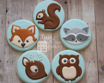Woodland Animals Decorated Sugar Cookies - Baby Shower Favor - Deer, Raccoon, Squirrel, Owl, Fox