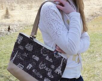 Brown Paris womans purse, handmade bag, ladies shoulder bag, large purse, designer bag, womens handmade handbag, women shoulder purse