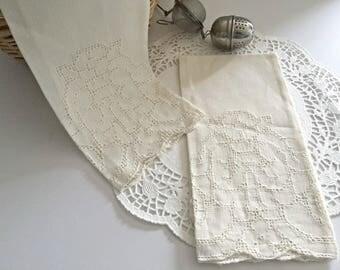 Cutwork Lace Linen Towels, Vintage Linen Tea Towels, Antique Linen