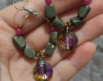 Amazing Pyrite and Black Iridescent Danglers