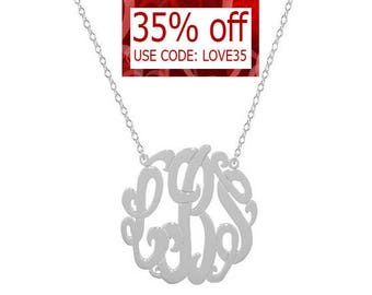 """Silver monogram necklace - Any intial necklace - personalize 1.25"""" sterling silver .925 silver pendant"""