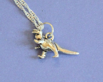 Silver Dinosaur Necklace,Dinosaur Pendant,Dinosaur Charm,Silver Dinosaur,Silver Pendant,Dinosaur Jewellery,Secret Santa Gift,Stocking Filler