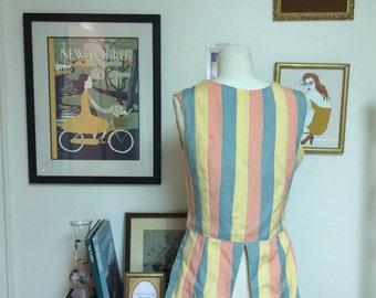 VEST of MANY COLORS // pastel stripe vest with tails