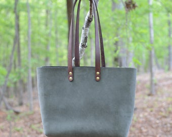 Waxed & Plated Leather Tote in Moss Gray
