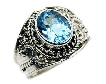 Blue Topaz Ring & 925 Sterling Silver Ring Size 8 , Y655 The Silver Plaza Gift Jewelry
