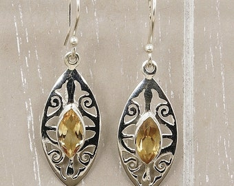 Miss Sunshine Citrine Earrings & .925 Sterling Silver Dangle Earrings AE747 The Silver Plaza