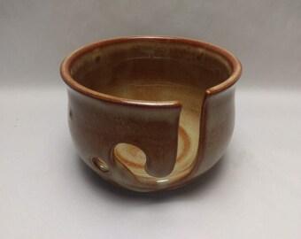 YARN BOWL - Albany Slip Brown - Hand Made Wheel Thrown Ceramic #697