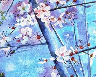 Cherry Blossom Card - Blank Greetings Card, Watercolour Card, Watercolor Card, Floral Card, Spring Card, Spring Birthday