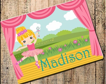 "Ballerina Placemat Personalized 16"" x 10"" Blonde, Brunnette or Red Head,Fabric Top, rubber backing, heat resistant, absorbs moisture"
