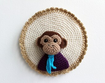 Arnold the Monkey, a crocheted portrait