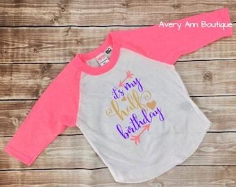 It's My Half Birthday Kids T-Shirt Raglan Shirt Kids Raglan Kid Shirt Toddler Girls Raglan Shirt Birthday Shirt Girls Birthday Pink Gold