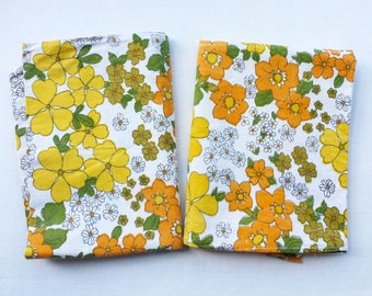 Groovy orange and yellow flower cotton pillowcases, vintage pillow case, retro camper van chic