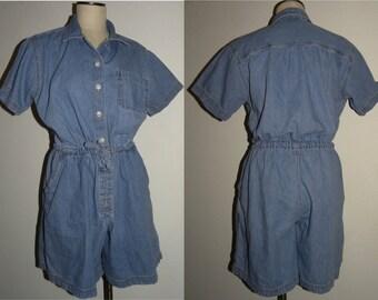1990s 90s Denim Romper / Playsuit / Vintage / shorts / Revival Jumper / Vintage Large