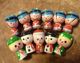 11 Miniature Christmas Ornaments Wood Vintage Hand Painted Santa Mrs. Claus Angel Soldier (#219)