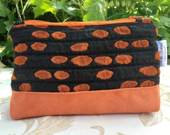 Orange and black zipper pouch, makeup bag, woman's present, gift