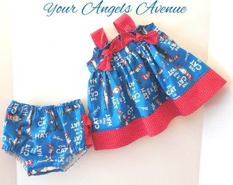 Baby Girl Dr Seuss Outfit, Cat in the Hat Outfit, Dr Seuss Dress, Ruffle Diaper Cover, Dr Seuss Dress, Dr Seuss Birthday Outfit