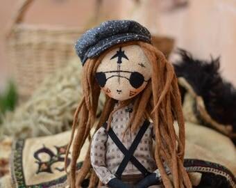 Boy with light brown dreadlocks - Pixie elf doll - Woodland  boy - Elf doll - Handmade doll - Textile toy - Embroidered plane.