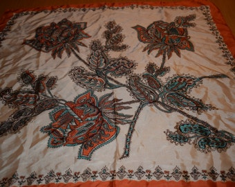 Headscarf Roy Thirkell Vintage Scarf Ladies Headscarf Orange Floral Designer Scarf