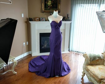 Eggpant purple prom dress, mermaid prom dress, sexy prom dress, purple mermaid gown, formal gown