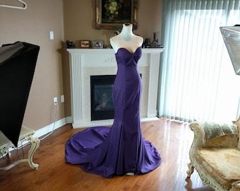 Eggpant purple bridesmaid dress, purple wedding dress, mermaid bridesmaid dress