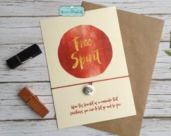 Free Spirit Lotus Flower Bracelet, Free Spirit Gift,  Red Yoga Gift, Love Yoga, Free Spirit Wish Bracelet, Mindfulness, Red Lotus