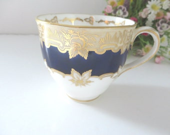 Antique 1850 Victorian blue and gold coffee cup