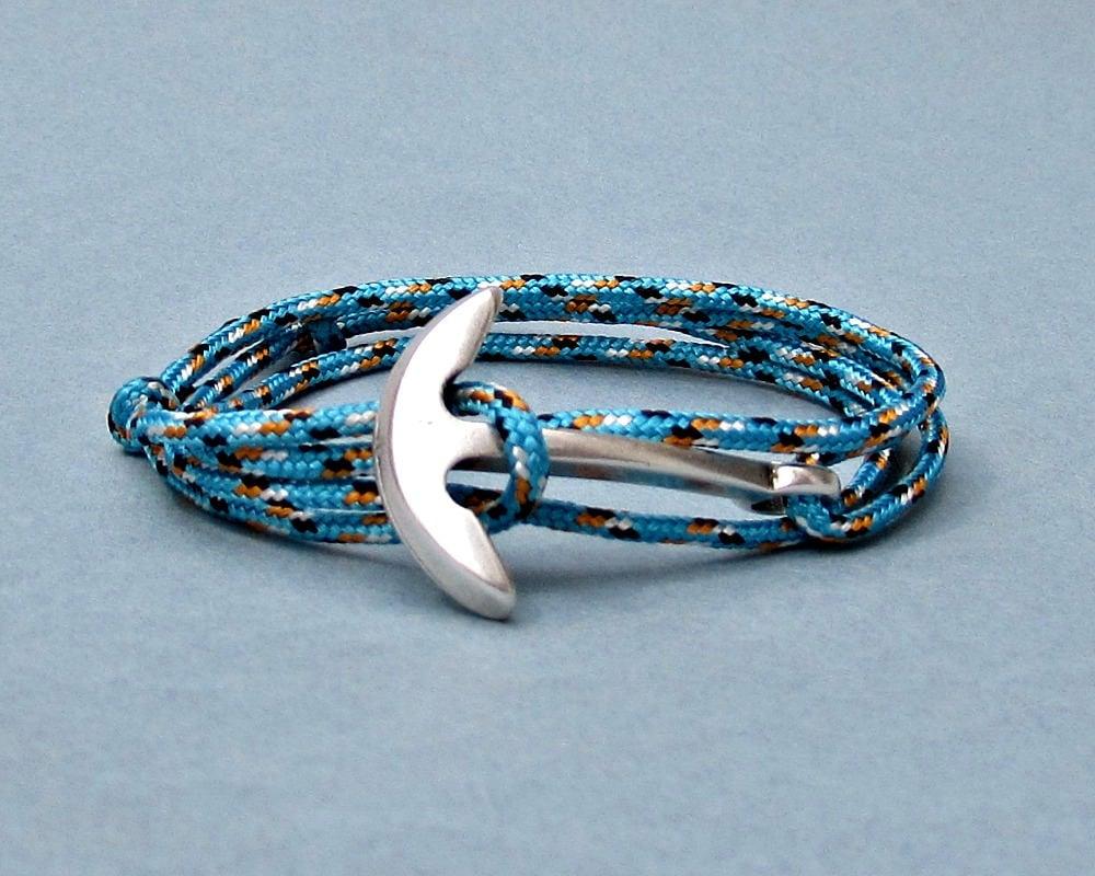 Nautical anchor bracelet mens fish hook paracord wrap for Mens fishing bracelet