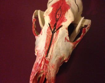 Dragon's Blood ink coyote skull witch spell 'bottle' OOAK