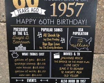 PRINTED 60th birthday board, Back in 1957, What Happened in 1957, 60th Birthday Decorations, Black and Gold, 60th Party Decor.  Vintage 1957