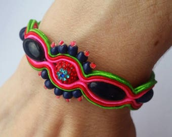 Soutache Bracelet, Handmade, Upcycled,Hand Embroidered, Braid, Beads, Pink, Green, Red