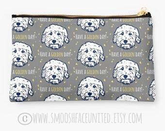 Goldendoodle - 'have a golden day!' zipper pouch, sleeve, pocket, clutch, bag, organizer - color OPTIONS - great Golden doodle gift!