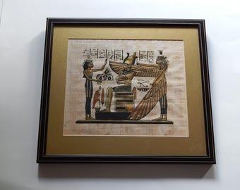 "8"" x 9 1/2"" Egyptian Papyrus Picture 12"" x 13 1/2"" Frame Hieroglyphics Pharaoh"