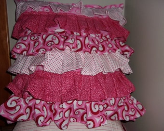 Pretty Princess Pillow with Pink, Red and White Ruffles Great Gift 16x14