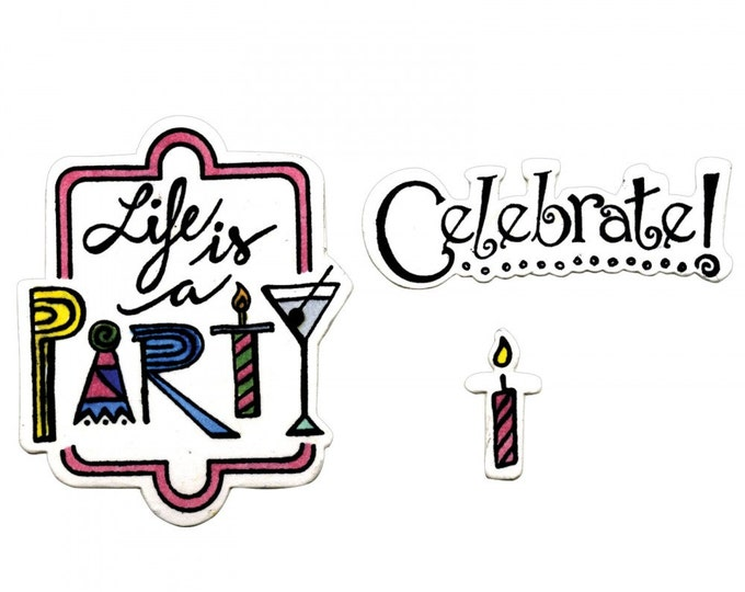 New! Sizzix Framelits Die Set 8PK w/Clear Stamps - Celebrate #2 Lindsey Serata 661856