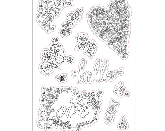 New! Sizzix Coloring Stickers - In Bloom by Jen Long