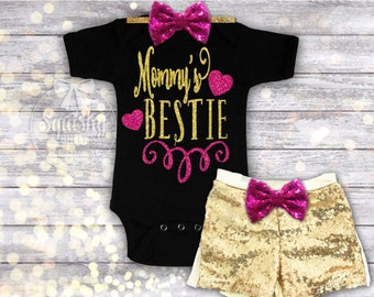 Mommy's Bestie Outfit, Perfect Mother's Day Gift, Baby Girl Bodysuit, Baby Shower Gift, Little Girl Shirt, Available in Newborn-6T