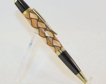 Seirra Twist Pen with Inlaid Basket Weave Pattern
