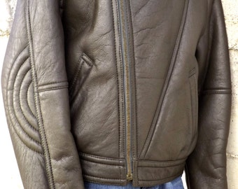 Vest Men's Leather Shearling original 90 made in italy size 48