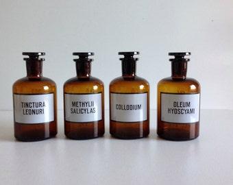 Vintage apothecary jars / pharmaceutical bottles / glass jars