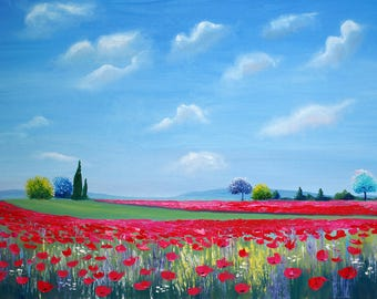 "Poppies Fields In The Countryside Original Landscape Oil Painting canvas  Impressionism pallet knife 36""x 24"" by Nataliia Novosad"