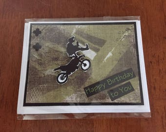 Teenage boy birthday card, greeting card, handmade, dirt biker, tricks, mixed media background, khaki green, One of a Kind