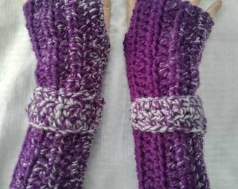 Crochet Fingerless Koralyne Gloves-Purple Silver