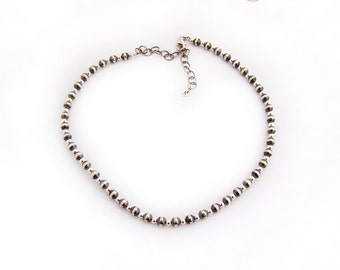 Vintage Ornate Sterling Silver Bead Necklace