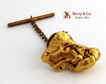 Large Gold Nugget Tie Tack