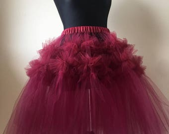 Unique Lace tulle skirt Red Burgundy Ruffles Frills Sheer Adult net mesh Tutu Burlesque Party bridesmaid stage dance white black pink ivory